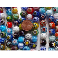 Perles verre Millefiori rondes 10mm MIX par 38 pcs