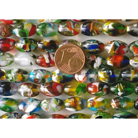 Perles verre très coloré ovales 12x8mm MIX par 32 pcs
