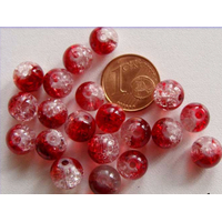 Perles verre Craquelé ronds 8mm ROUGE et TRANSPARENT par 40 pcs