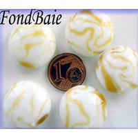 Perles verre Galets 20mm BLANC motifs CARAMEL par 5 pcs
