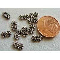 Perles Métal argenté vieilli Séparateur 2 rangs par 10 pcs