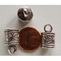 Perles Métal argenté Embout 16x9mm par 10 pcs
