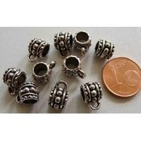Perles Métal argenté vieilli avec ANNEAU par 10 pcs