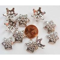 Perles Métal argenté vieilli COUPELLES 6 Branches 17mm par 10 pcs