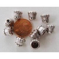 Perles Métal argenté vieilli COUPELLES 9mm par 10 pcs