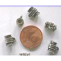 Perles Métal argenté vieilli avec ANNEAU 8mm par 10 pcs