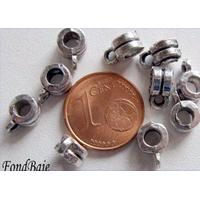 Perles Métal argenté vieilli avec ANNEAU 6mm par 10 pcs