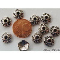 Perles Métal argenté vieilli COUPELLE fleur 9mm par 20 pcs
