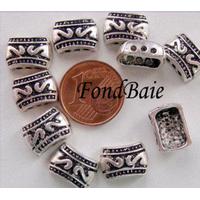 Perles Métal argenté vieilli Séparateur 3 rangs Creux 12mm par 10 pcs