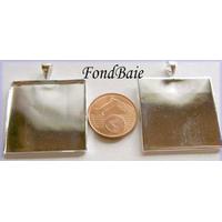 Perles Métal argenté CLAIR SUPPORT Cabochon CARRE 25mm par 2 pcs