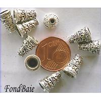 Perles Métal argenté vieilli CONE motif rond 10mm par 10 pcs