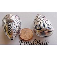 Perles Alliage argenté vieilli GOUTTE 36mm par 1 pc