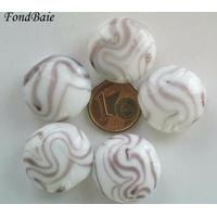 Perles verre Galets 20mm BLANC motifs VIOLET par 5 pcs