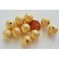 Perles Métal Doré Givre 12mm par 10 pcs