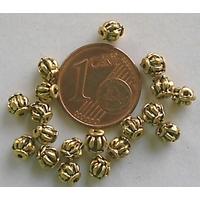 Perles Métal Doré RONDES Orange 4mm par 20 pcs