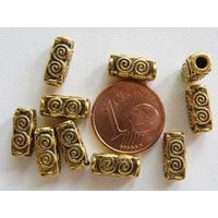 Perles Métal Doré TUBES Rectangle Spirale 10mm par 10 pcs