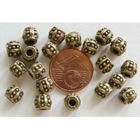 Perles Métal Bronze OLIVE pointille 6mm par 20 pcs