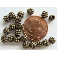 Perles Métal Bronze OLIVES pointillés 4mm par 20 pcs