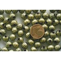 Perles Métal Bronze RONDES creuses 8mm par 20 pcs