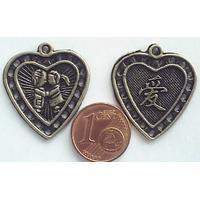 Perles Métal Bronze BRELOQUES COEUR Bisou 22mm par 2 pcs