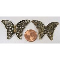 Perles Métal Bronze BRELOQUES ESTAMPES PAPILLON 39mm par 10 pcs