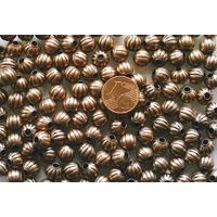 Perles Métal couleur CUIVRE RONDES creuses 8mm par 20 pcs