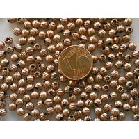 Perles Métal couleur CUIVRE RONDES creuses 4mm par 20 pcs