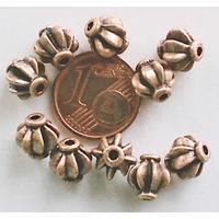 Perles Métal couleur CUIVRE Rondes Quartier d'orange par 10 pcs