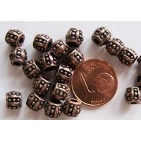 Perles Métal couleur CUIVRE OLIVE pointille 6mm par 20 pcs