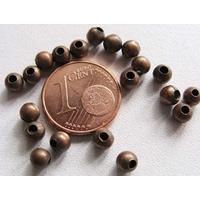 Perles Métal couleur CUIVRE RONDES 4mm par 50 pcs
