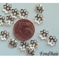 Perles Métal argenté vieilli COUPELLE simple 8mm par 50 pcs