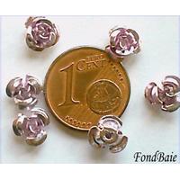 Perles Aluminium Fleur 6mm MAUVE par 20 pcs