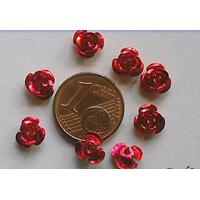 Perles Aluminium Fleur 6mm ROUGE par 20 pcs
