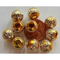 Perles Aluminium Rondes 8mm JAUNE DORE par 10 pcs