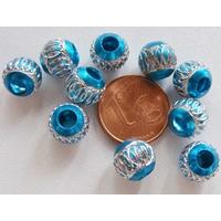 Perles Aluminium Rondes 8mm BLEU par 10 pcs