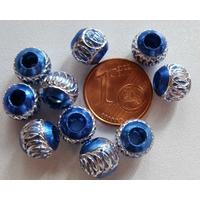 Perles Aluminium Rondes 8mm BLEU FONCE par 10 pcs
