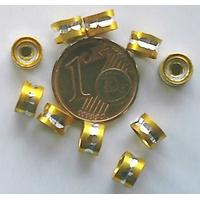 Perles Aluminium Rondelles 6x4mm JAUNE DORE par 20 pcs