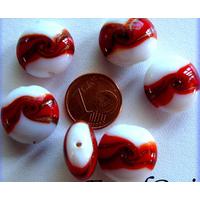 Perles verre Galets 16mm BLANC bandeau Rouge par 6 pcs
