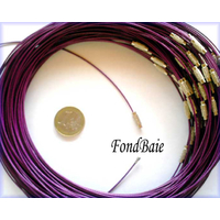 Collier monté FIL CABLE  45cm VIOLET 1,2mm fermoir VIS par 1 pc