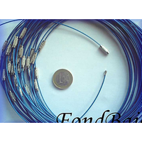 Collier monté FIL CABLE  45cm BLEU 1,2mm fermoir VIS par 1 pc