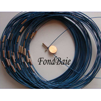 Collier monté FIL CABLE 45cm BLEU 1mm fermoir VIS par 1 pc