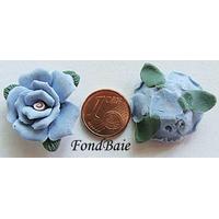 Perles PORCELAINE FLEUR BLEUE 22mm par 2 pcs
