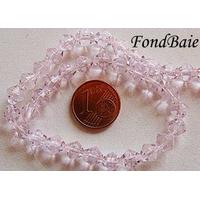 Perles verre simple TOUPIE 6mm ROSE par 45 pcs