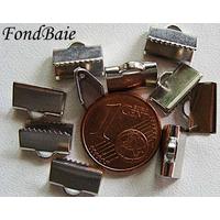 Embouts pour ruban 10mm ARGENT VIEILLI par 20 pcs