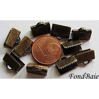 Embouts pour ruban 10mm BRONZE par 20 pcs