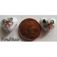 Perles Coeurs Cloisonnés 12mm BLANC par 4 pcs