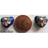 Perles Coeurs Cloisonnés 12mm BLEU MARINE par 4 pcs