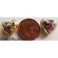 Perles Coeurs Cloisonnés 12mm DORE par 4 pcs