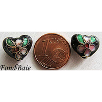 Perles Coeurs Cloisonnés 12mm NOIR par 4 pcs