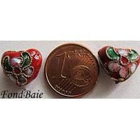 Perles Coeurs Cloisonnés 12mm ROUGE par 4 pcs